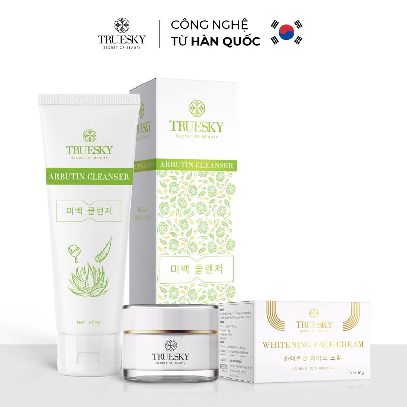 [Tặng mặt nạ cấp ẩm] Bộ sản phẩm Truesky VIP07 gồm 1 kem dưỡng trắng da mặt Truesky làm da trắng mịn 10g & 1 sữa rửa mặt trắng da xóa bỏ các vùng da tối màu, làm đều màu da 60ml giá rẻ