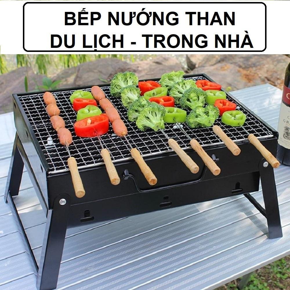 Bếp nướng than chống khói kèm Vỉ nướng Hình chữ nhật - Bếp nướng than chống khói kèm vỉ nướng - Bếp nướng thịt bằng than hoa - Bếp than hoa,bếp nướng cao cấp ngoài trời - Bếp nướng đi dã ngoại picnic (Đen)