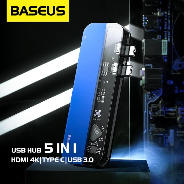 Bảng giá Bộ USB Hub Baseus Thunderbolt C 5 in 1 mở rộng cổng kết nối USB 3.0, HDMI, Thunderbolt 3,cho Macbook Pro 16/17/18/20 Phong Vũ