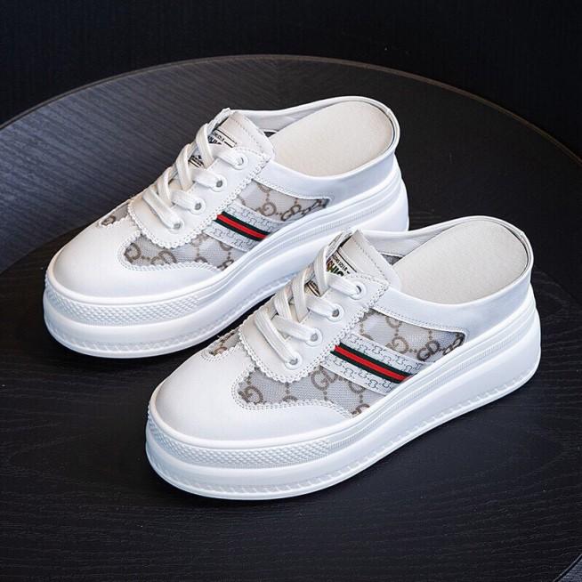 Giày sục nữ siêu độn kẻ xanh đỏ giá rẻ