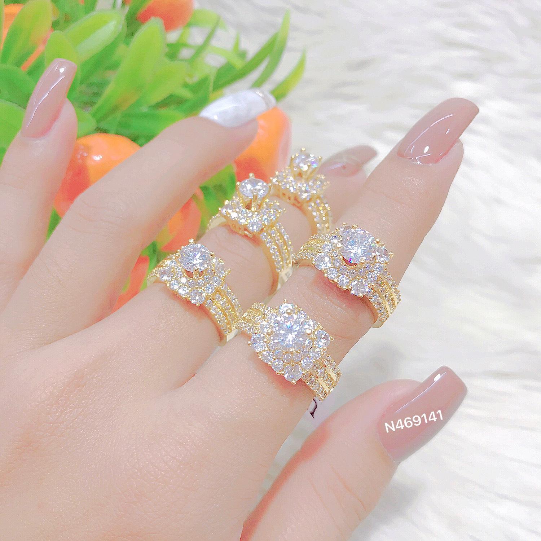 [Khuyến mãi lớn - chỉ 12.12 + Miễn phí ship ] Nhẫn nữ JK Silver mạ vàng thật 18K đính soàn sang trọng, kiểu dáng Hàn Quốc hiện đại - phù hợp để dự tiệc hay làm quà tặng