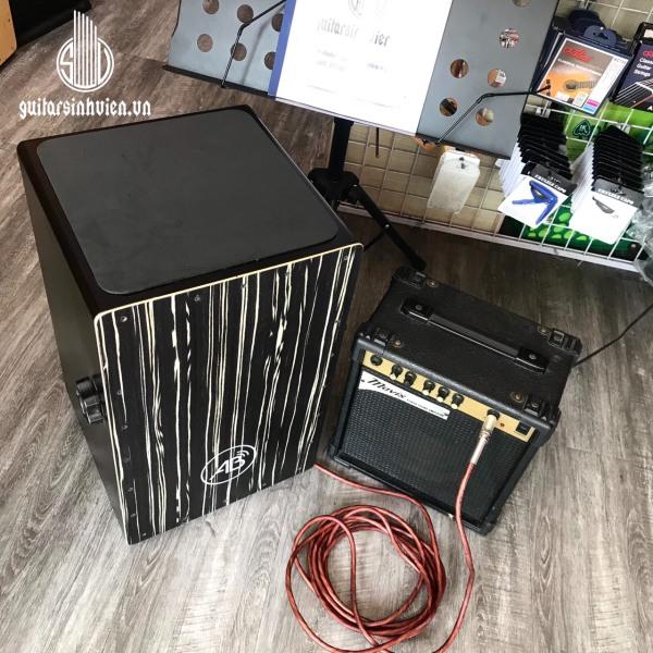 Trống Cajon AB drum màu đen có lắp EQ kết nối âm thanh - Tặng kèm dây jack nối loa, miếng lót chống ê mông, bao dù chống xước - Bảo hành 6 tháng