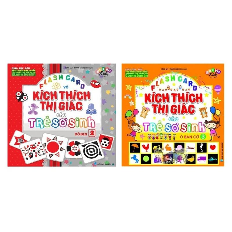 Mua Combo Flash card Dạy Trẻ Theo Phương Pháp Glenn Doman - Kích Thích Thị Giác Cho Trẻ Sơ Sinh Đỏ Đen và Ô Bàn Cờ