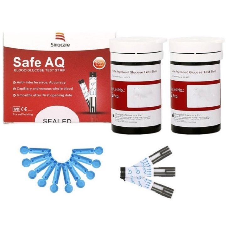 Combo Hộp 50 que thử và 50 kim chích máu dùng cho máy đo đường huyết Sinocare Safe AQ cao cấp
