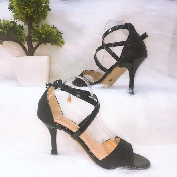 Giày Cao Gót nhọn 8p Quai chéo ánh kim chéo gót giá rẻ