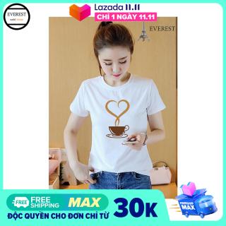 Áo thun nữ in hình cà phê tim form rộng hàn quốc vải dày mịn, chất liệu thun mềm mại co giãn tốt, thoáng mát AoK905 Thời Trang Everest thumbnail