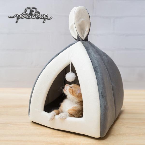 Nhà đệm cho thú cưng tai thỏ đáng yêu - Ổ cho chó mèo khép kín màu trắng xám có thể tháo rời đệm, làm sạch dễ dàng