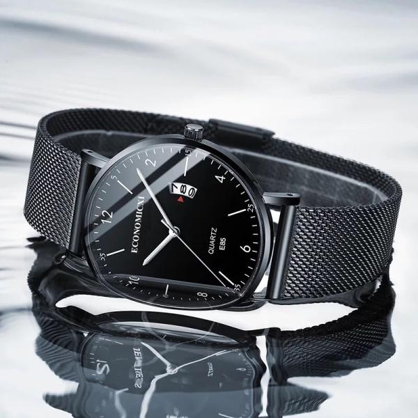 Đồng hồ nam ECONOMICXI Mẫu MỚI 2020 dây thép chạy lịch ngày cao cấp - có hộp đựng, bảo hành 12 tháng bán chạy