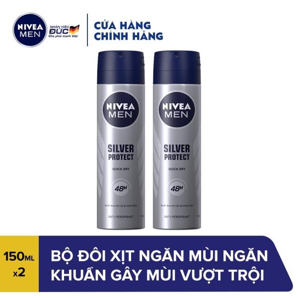 Bộ đôi Xịt Ngăn Mùi Ngăn Khuẩn Gây Mùi Vượt Trội Dành Cho Nam Nivea Men Silver Protect 82959 (150ml x2) giá rẻ
