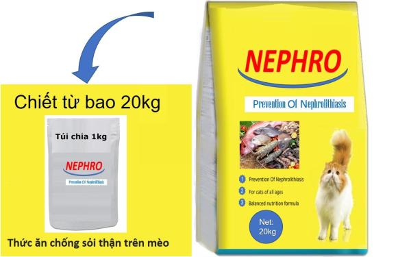 (NEW)-Túi chiết 1kg-NEPHRO Anh Quốc-Thức ăn bổ thận cho mèo mọi lứa tuổi- thức ăn đã được chứng nhận không sỏi thận.