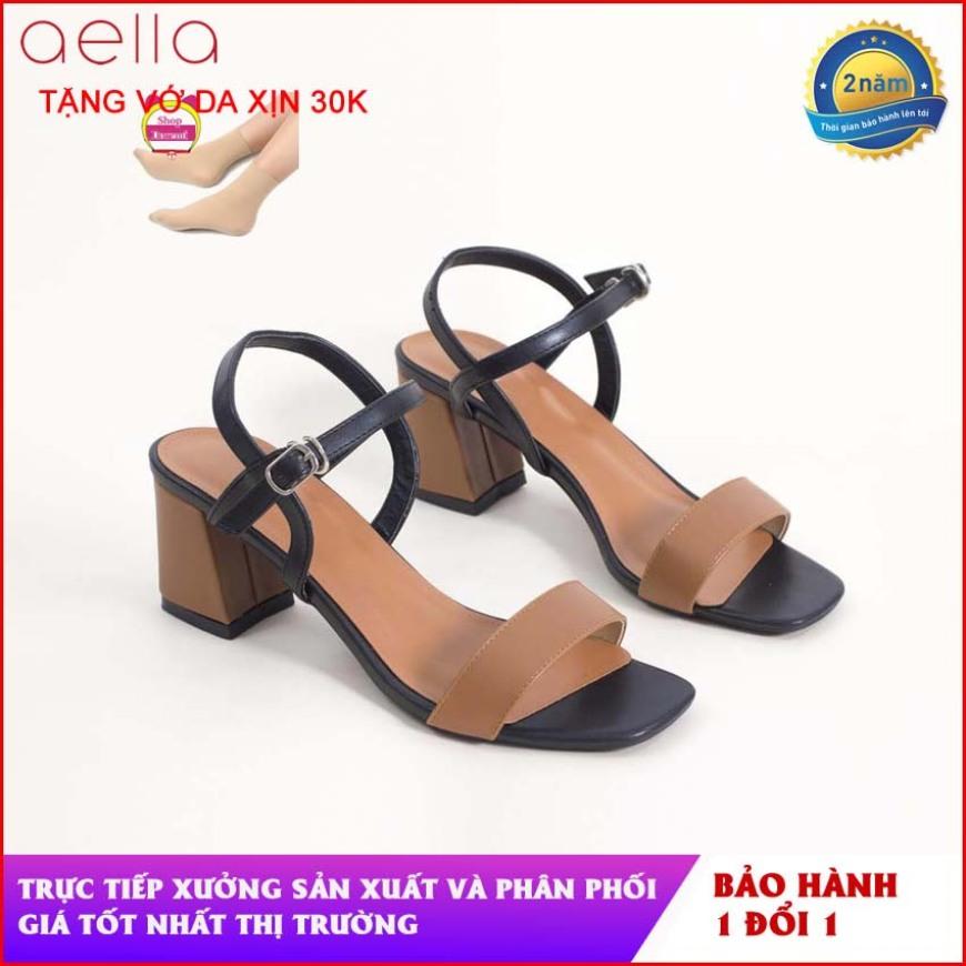 Giày sandal nữ cao gót quai ngang gót 5cm AELLA244 - Dáng công xinh công sở, mềm mại - Giày xăng đan cao gót nữ giá rẻ