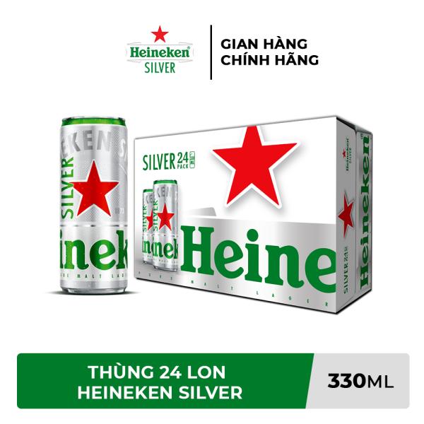 [TRỢ SHIP 76k KHI MUA TỪ 2 THÙNG + VOUCHER 10K] Thùng 24 lon bia Heineken Silver 330ml/lon