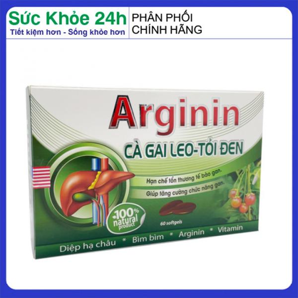 Viên uống Arginine cà gai leo xạ đen tăng cường chức năng gan, giải độc gan, thanh lọc cơ thể - Hộp 60 viên