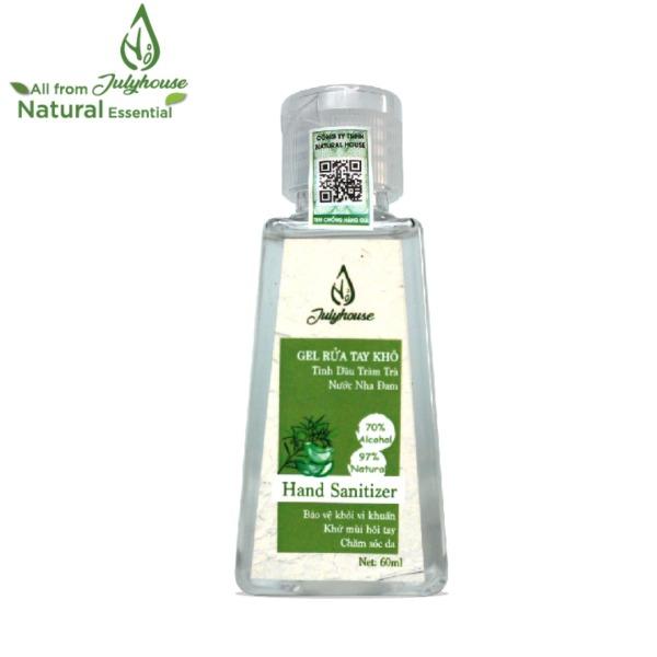 Nước rửa tay khô dạng Gel tinh dầu Tràm Trà và Nha Đam chai 60ml JULYHOUSE