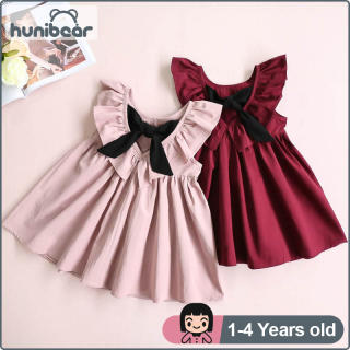 Đầm Công Chúa Mùa Hè Hunibear Cho Bé Gái, Đầm Xếp Ly Hở Lưng Cho Bé Từ 1-4 Tuổi