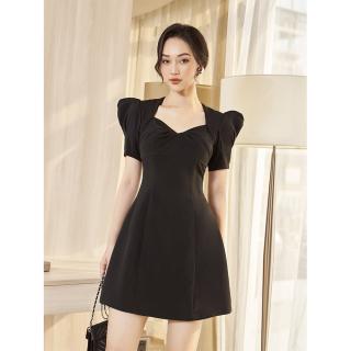RECHIC Đầm Joyce màu đen cổ vuông tay phồng dáng ngắn xinh xắng dễ thương thumbnail
