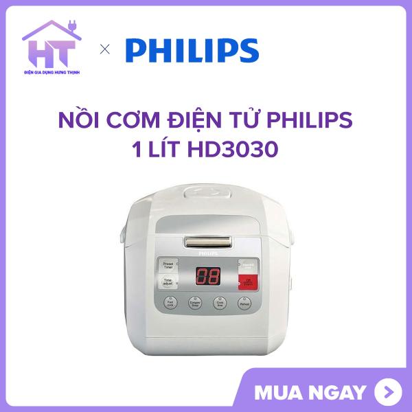 Nồi cơm điện tử Philips 1 lít HD3030 Lòng nồi hợp kim nhôm tráng men chống dính dễ vệ sinh. Công nghệ nấu 3D và công nghệ nấu Fuzzy cho cơm chín đều và ngon.