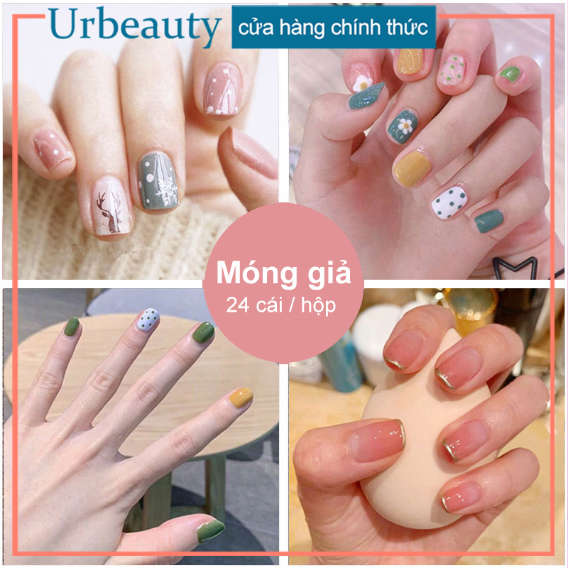 【Urbeauty】Hộp 24 Móng tay giả (Chứa keo),Năm phong cách chọn móng tay giả, nail giả , móng giả A8 ( Sản phẩm đã có sẳn keo )