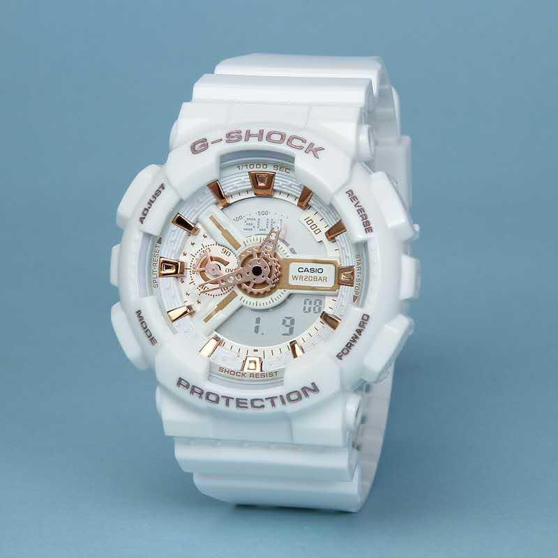 Đồng hồ thể thao nam GS-GA110-1B điện tử chống nước đa năng màu trắng bán chạy