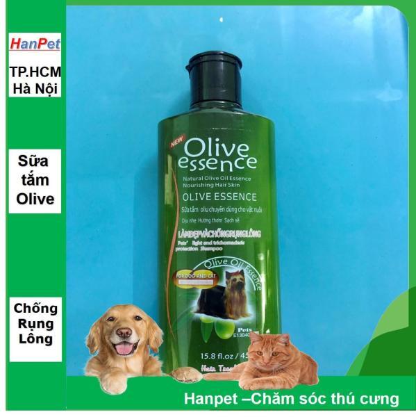 HCM-Sữa tắm tinh dầu ô liu chó mèo - Sữa tắm OLIVE  - 450ml loại Chống rụng lông- Dầu tắm chó mèo-HP10783TC