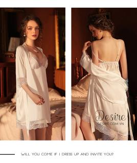 Áo choàng lụa kèm váy ngủ hai dây phối ren cực gợi cảm VN-13 thumbnail