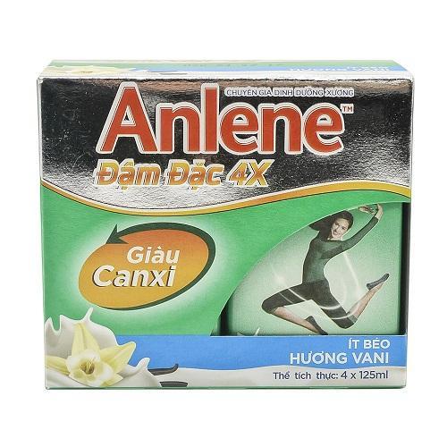 Sữa Anlene đậm đặc 4X hương vani hộp 125ml x 4