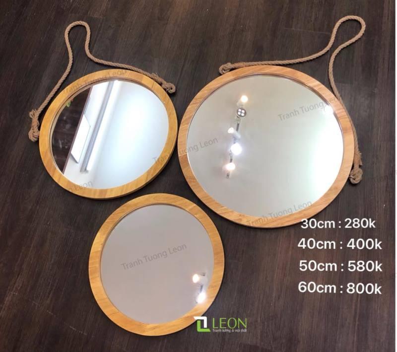 Gương tròn khung gỗ đủ kích thước