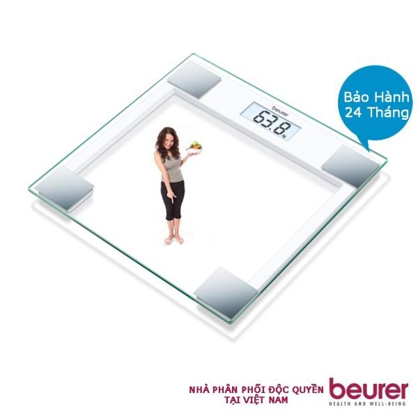 Cân điện tử BEURER Chính hãng của Đức GS14 mặt kính trong cường lực màn hình LCD, có thông báo quá tải, chịu lực tối đa 150 kg