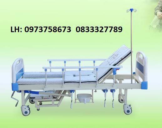 Giường y tế đầu nhựa đa năng 4 tay quay HL2 - Giường bệnh đa chức năng - Giường y tế nhập khẩu