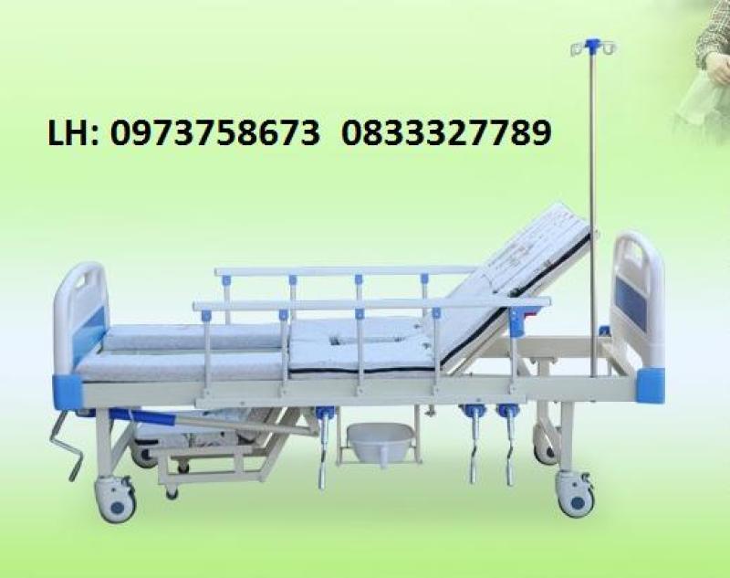 Giường y tế đầu nhựa đa năng 4 tay quay HL2 - Giường bệnh đa chức năng - Giường y tế
