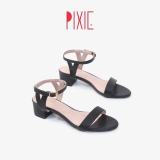 Giày Sandal 3cm Quai Ngang Đế Vuông Pixie X764 thumbnail