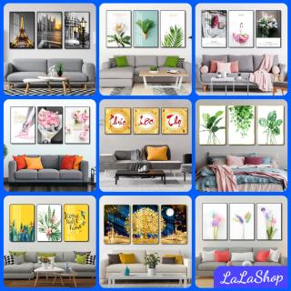 [LaLa] Tranh canvas treo tường có khung cao cấp - Bộ 3 bức tranh vải canvas, tranh tráng gương treo tường phong cảnh bắc âu decor trang trí phòng khách, phòng ngủ sang trọng in 3D nghệ thuật hiện đaị - tặng kèm đinh thumbnail