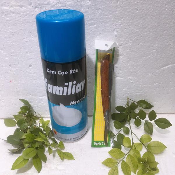 Combo  dao cạo và Kem cạo râu Familiar chai to 360gam nhập khẩu