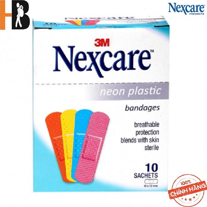 Băng keo cá nhân màu Neon Plastic 10 gói/hộp ( 1 gói/ 9 miếng) Nexcare 3M nhập khẩu