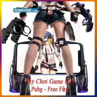 Tay cầm chơi game PUBG kèm nút bấm cho game PUBG, ROS, Free Fire..gắn điện thoại tiện lợi - Tay cầm chơi game k21 - Tay cầm chơi game điện thoại- Tay cầm chơi game 2 ngón- Máy chơi gamer cầm tay thumbnail
