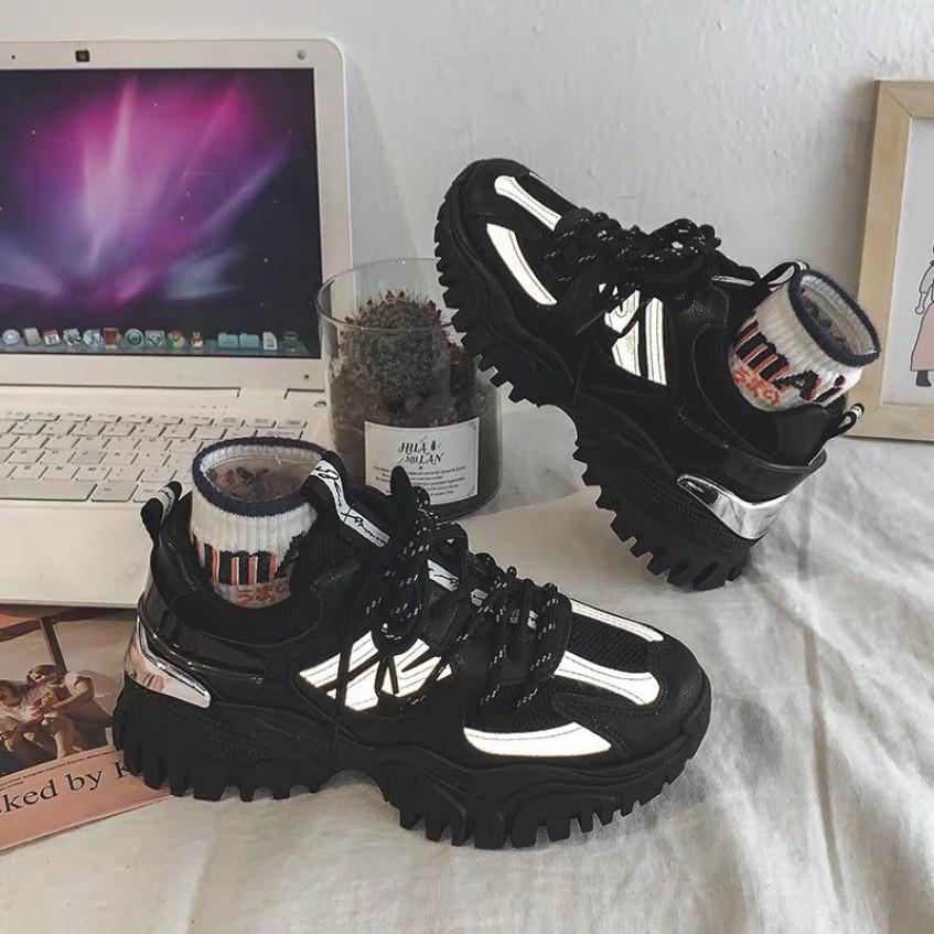 Giày thể thao nữ đế răng cưa gót bạc viền phản quang Bosan giá rẻ