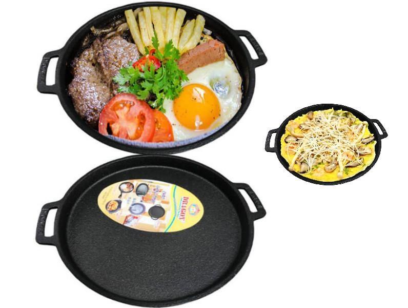 COMBO BỘ 2 Chảo gang chống dính đổ bánh xèo,Bò Bít Tết  Dragon sử dụng dược cho tất cả các loại bếp,bếp ga,bếp điện,bếp từ,bếp than 22cm ( loại lớn)