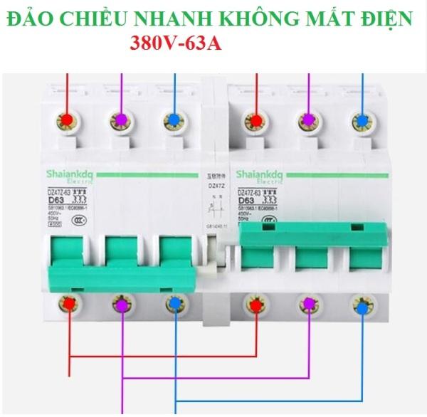 Cầu dao đảo chiều 3P 380V/63A không gây mất điện dạng Aptomat hàng cao cấp Shaiankadq, công tắc đảo chiều, át đảo chiều, aptomat đảo chiều, cầu dao 2 chiều , công tắc hẹn giờ , bộ đổi nguồn điện, thiết bị chuyển nguồn