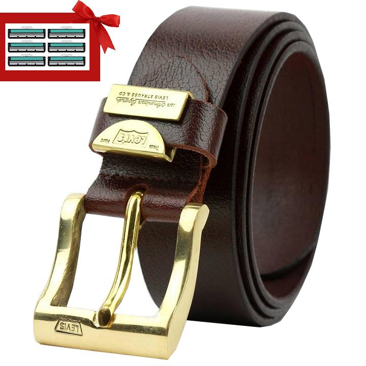 Dây lưng da bò đầu khóa đồng nguyên khối Ruby Luxury tặng kèm 6 lưỡi dao cạo râu kép trị giá 60.000 đ Nhật Bản