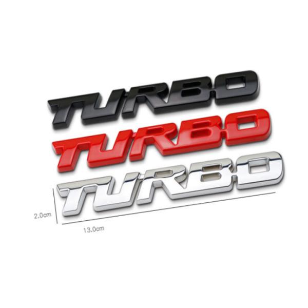 Decal tem chữ Turbo inox dán trang trí thân xe hoặc đuôi ô tô