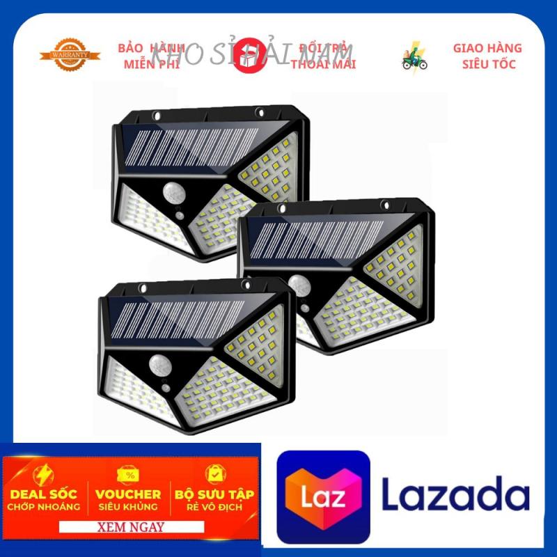 Đèn năng lượng mặt trời 100 LED - 3 chế độ sáng đèn cảm biến hồng ngoại