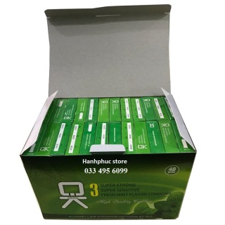 Bộ 1 hộp lớn Bao cao su OKHQ bạc hà 144 cái - Mát lạnh thumbnail