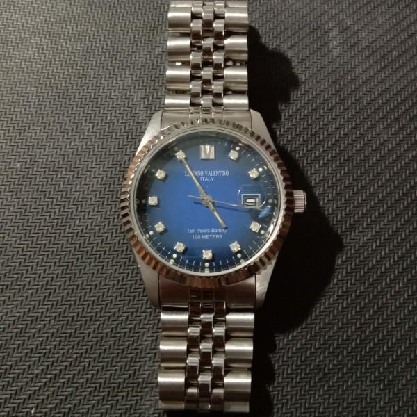 [HCM]Đồng hồ nam Luciano Valentino 35mm mặt tròn 3 kim lịch ngày góc 3h dây kim loại 5 chấu