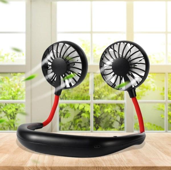 Quạt tích điện mini đeo cổ 7 cánh tiện lợi giải pháp dành cho mùa hè nắng nóng