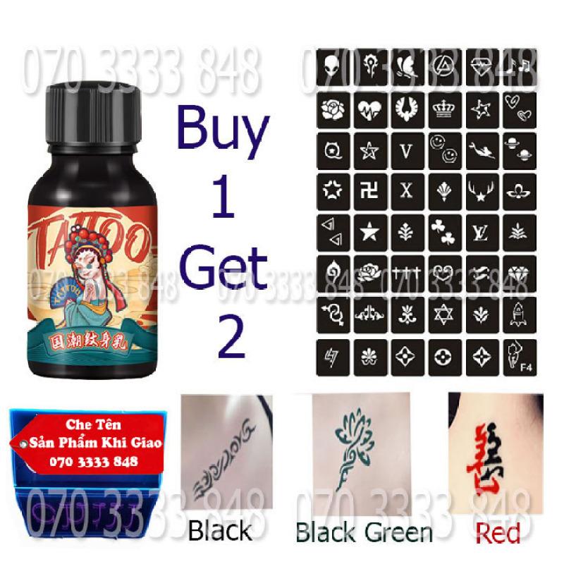 Mực Xăm Tạm Thời 7-15day Lên Màu Ngay [ Tặng 2 khuôn + Sticker  ] [Màu Đen - Đỏ - Xanh]No.2