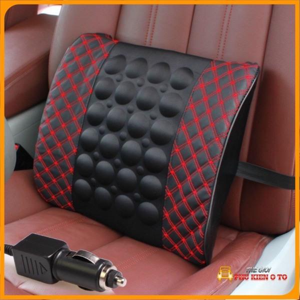Gối tựa lưng massage trên xe ô tô , xe hơi - ghế văn phòng chống đau mỏi lưng, Đệm Massage Lưng Nguồn 12V Giảm Đau Mỏi Lưng Cho Bác Tài Cắm Đầu Tẩu Ô Tô