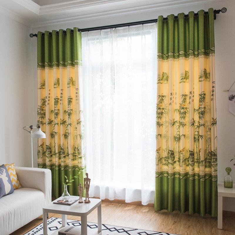 Rèm treo cửa trúc xanh in hai mặt chất liệu đẹp 1 tấm 1m ngang x 2.7m cao