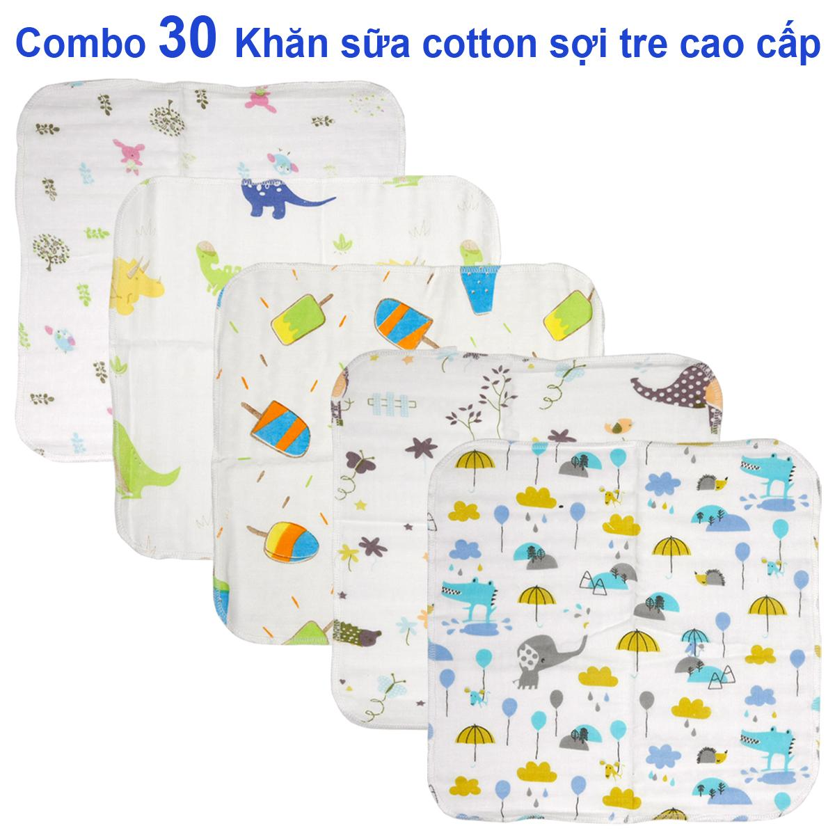 Combo 30 khăn sữa , khăn xô cotton sợi tre...
