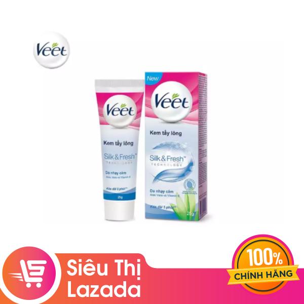[Siêu thị Lazada] [Qùa tặng kèm khi mua Durex] Kem tẩy lông cho da nhạy cảm Veet Silk Fresh 25g