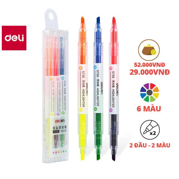 Mua Bút dấu dòng 2 đầu Deli - Bút nhớ dòng - Bút highlight -  Hộp nhựa 6 màu - 3 cây/Hộp - S736
